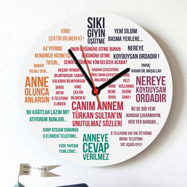 Klasik Anne Sözleri Duvar Saati