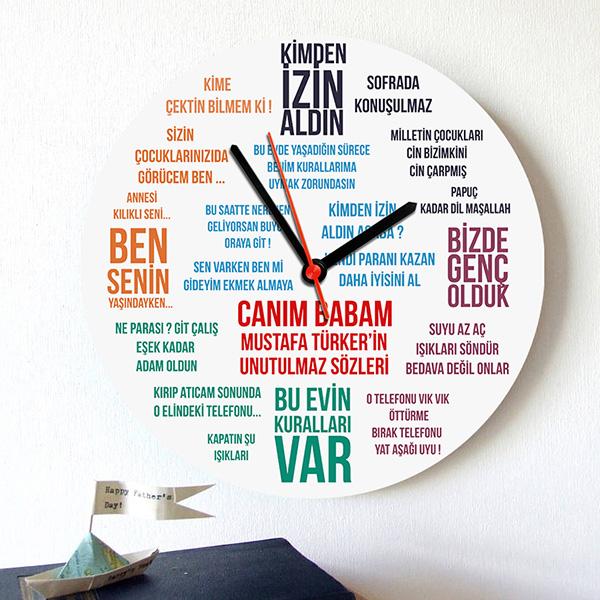 Klasik Baba Sözleri Duvar Saati