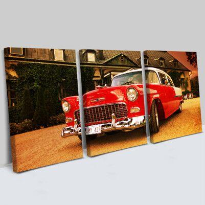 - Klasik Chevrolet 3 Parça Kanvas Tablo