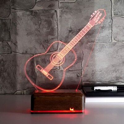 Klasik Gitar Tasrımlı 3D Led Lamba - Thumbnail