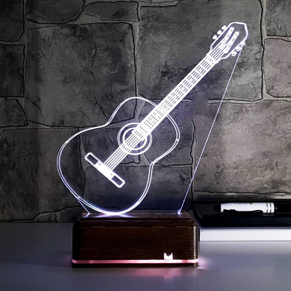 Klasik Gitar Tasrımlı 3D Led Lamba
