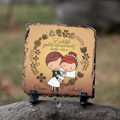 - Kocaya Hediye Evlilik Yıldönümü Taş Baskısı
