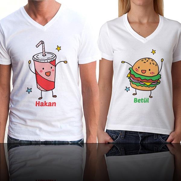 Kola ve Hamburger Çift Tişörtleri