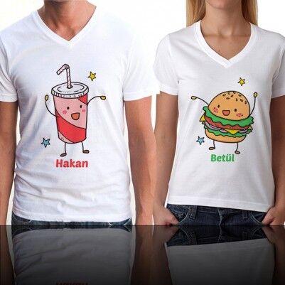 Kola ve Hamburger Çift Tişörtleri - Thumbnail