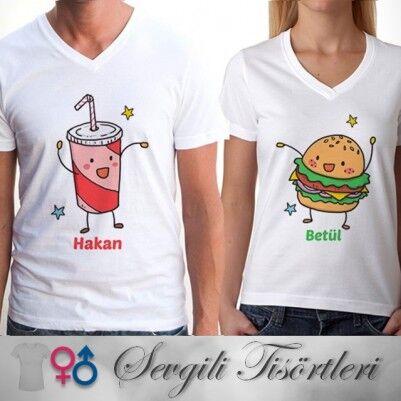 - Kola ve Hamburger Çift Tişörtleri