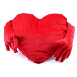 Kollu Kırmızı Kalp Yastık 90 cm - Thumbnail
