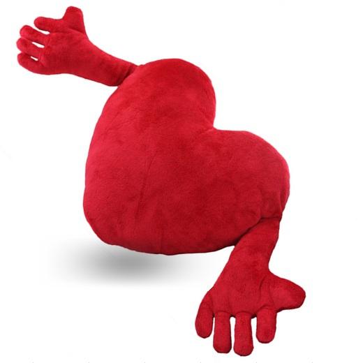 Kollu Kırmızı Kalp Yastık 90 cm