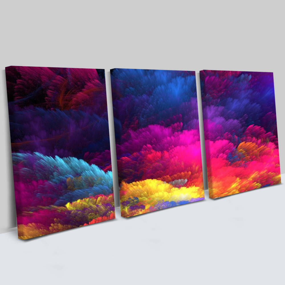 Konsept Renkler 3 Parça Kanvas Tablo