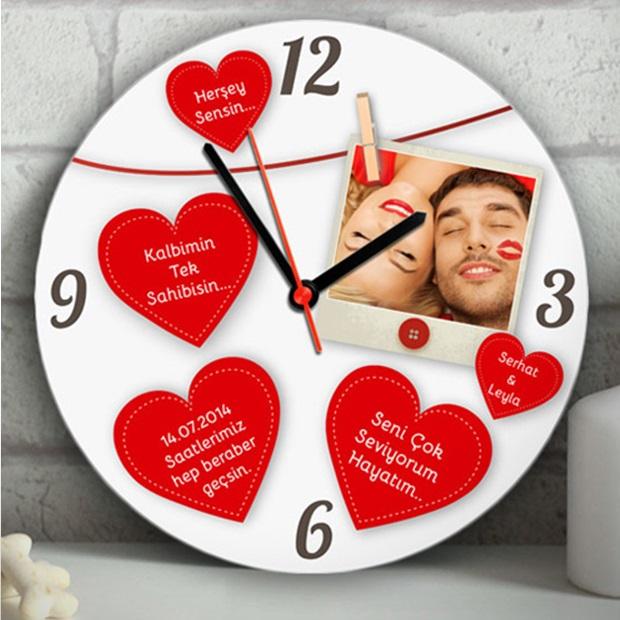 Kişiye Özel Mesajlı Kalpler Duvar Saati