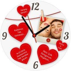 Kişiye Özel Mesajlı Kalpler Duvar Saati - Thumbnail