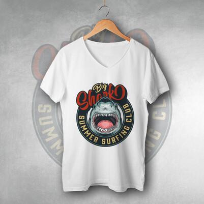 - Köpek Balığı Tasarımlı Tişört