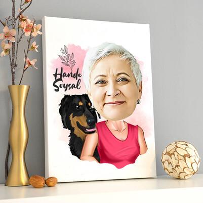- Köpekli Anne Karikatürlü Kanvas Tablo
