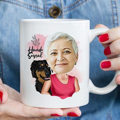 - Köpekli Anne Karikatürlü Kupa Bardak