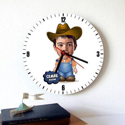 - Kovboy Çocuk Karikatürlü Duvar Saati