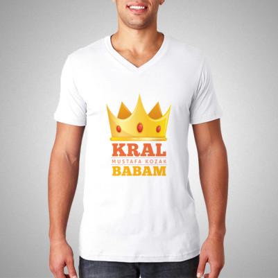 - Kral Babam İsme Özel Tişört