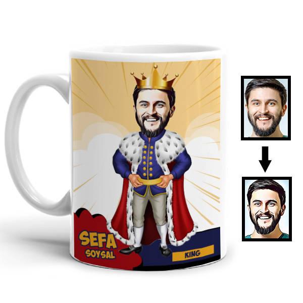 Kral Karikatürlü Kupa Bardak