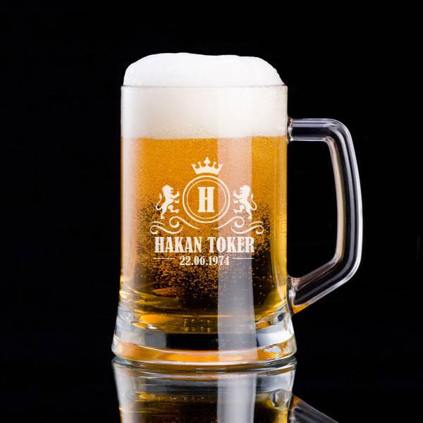 Kral Tacı ve Aslanlı İsime Özel Bira Bardağı