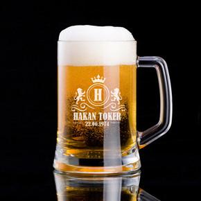 - Kral Tacı ve Aslanlı İsime Özel Bira Bardağı