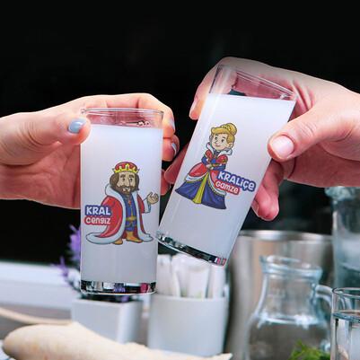 - Kral ve Kraliçe 2li Rakı Bardağı