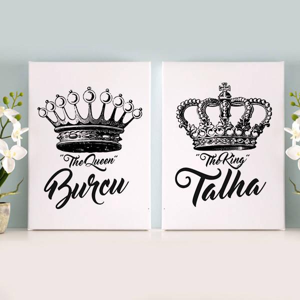 Kral ve Kraliçe Tacı İkili Kanvas Tablo