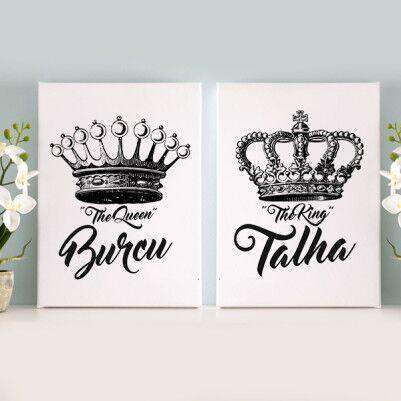 - Kral ve Kraliçe Tacı İkili Kanvas Tablo