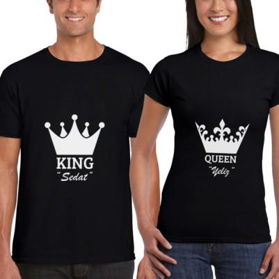 - Kral ve Kraliçe Tacı Siyah Sevgili Tişörtleri