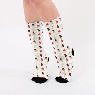 Külah Dondurma Tasarımlı Kadın Çorap - Thumbnail
