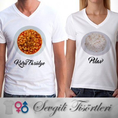 - Kuru Fasulye & Pilav Sevgili Tişörtü