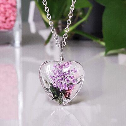 - Kurutulmuş Çiçek Kolye Kalp Tasarımlı YK63