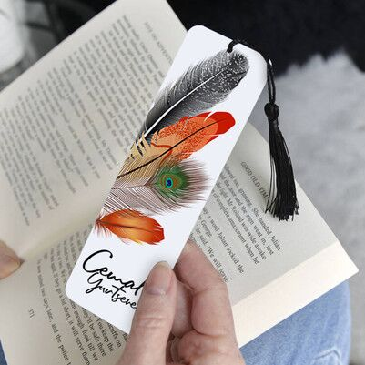 Kuş Tüyü Tasarımlı İsimli Kitap Ayracı - Thumbnail