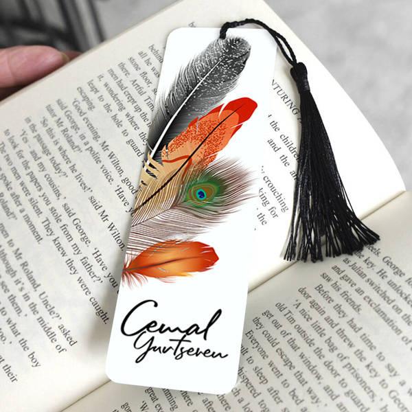 Kuş Tüyü Tasarımlı İsimli Kitap Ayracı