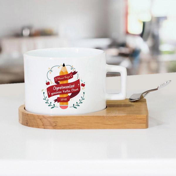 Kutlama Mesajlı Öğretmen Çay Fincanı