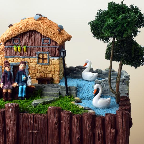 Kütük Taş Ev Minyatür Bahçe
