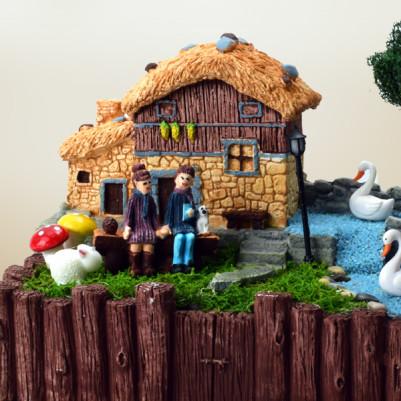Kütük Taş Ev Minyatür Bahçe - Thumbnail