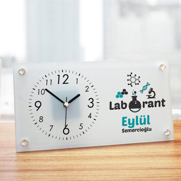 Laboranta Hediye Cam Masa Saati