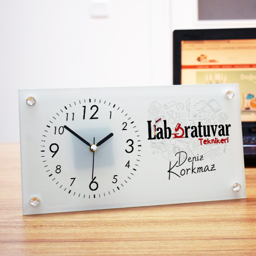 Laboratuvar Teknikerlerine Özel Cam Masa Saati