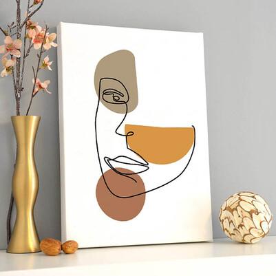 - Line Face Sanatsal Kanvas Tablo