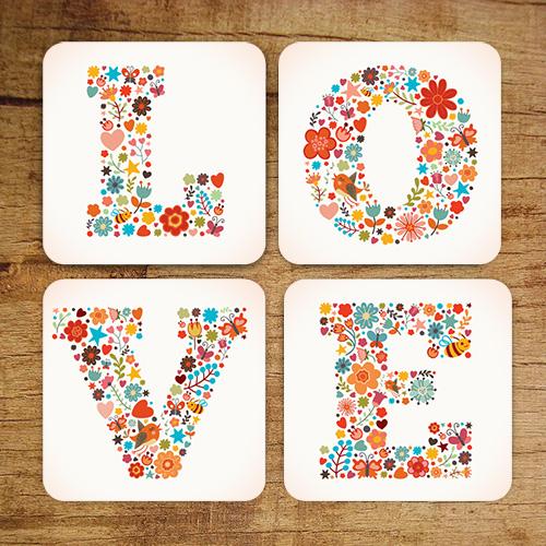 Love Bardak Altlığı 4'lü Set