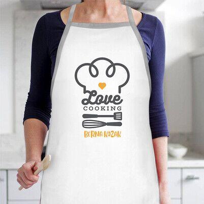 - Love Cooking İsme Özel Mutfak Önlüğü