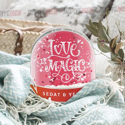 Love İsme Özel Kar Küresi - Thumbnail