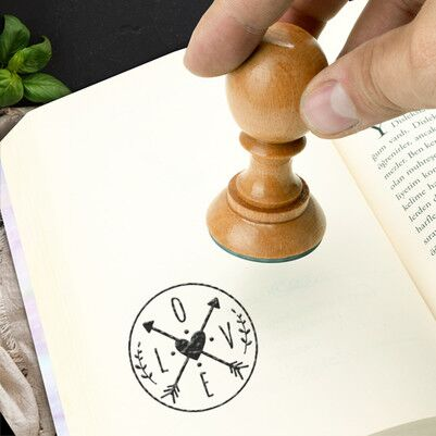 Love Tasarımlı Kitap Damgası - Thumbnail