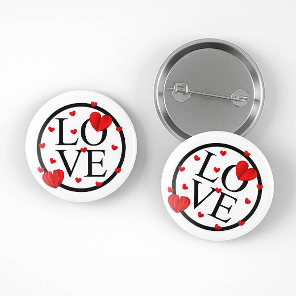 Love Tasarımlı Romantik Rozet