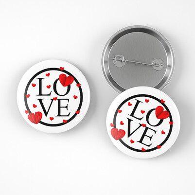 Love Tasarımlı Romantik Rozet - Thumbnail