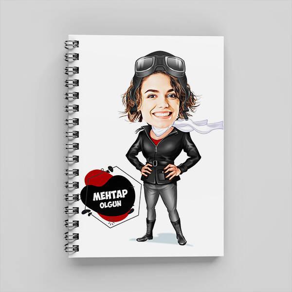 Maceracı Kadın Karikatürlü Defter
