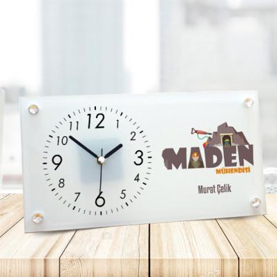 - Maden Mühendislerine Özel Cam Masa Saati