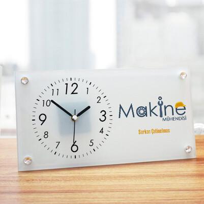 - Makine Mühendisi Tasarımlı Cam Masa Saati