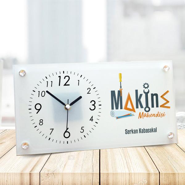 Makine Mühendisine Hediye Cam Masa Saati