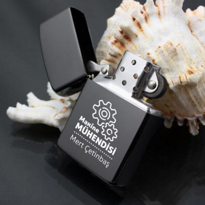 Makine Mühendisine Hediye Metal Siyah Çakmak - Thumbnail