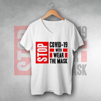 Maskeni Tak ve Virüsü Durdur Baskılı Tişört - Thumbnail