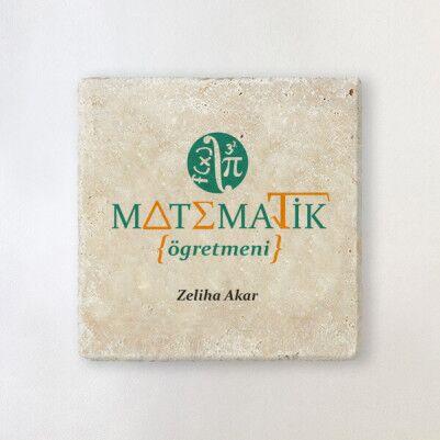 - Matematik Öğretmenine Hediye Taş Bardak Altlığı